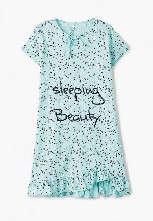 Сорочка ночная Ruz Kids. Цвет: бирюзовый