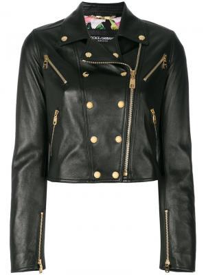 Байкерская куртка с заклепками Dolce & Gabbana. Цвет: чёрный