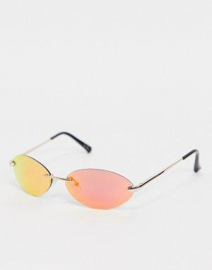 Розовые солнцезащитные очки без оправы с зеркальными линзами -Розовый цвет ASOS DESIGN