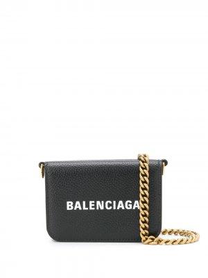 Мини-кошелек с логотипом Balenciaga. Цвет: черный