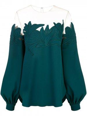 Блузка с пышными рукавами Oscar de la Renta. Цвет: зеленый
