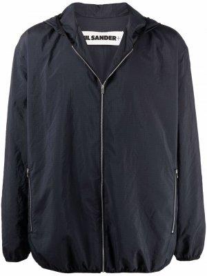 Легкая куртка с капюшоном Jil Sander. Цвет: синий