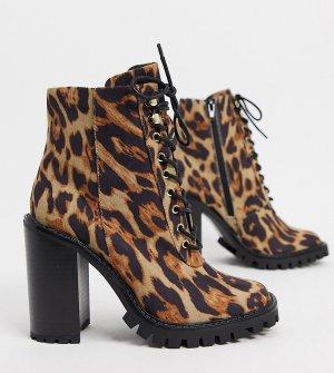 Леопардовые полусапожки для широкой стопы на каблуке -Мульти ASOS DESIGN