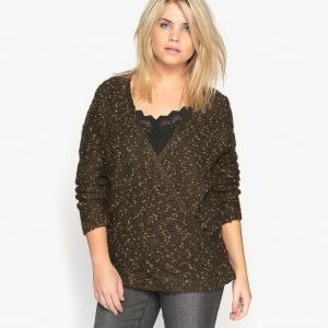Пуловер с V-образным вырезом CASTALUNA. Цвет: медный хаки,черный медный