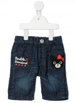 Embroidered cropped jeans Miki House. Цвет: синий