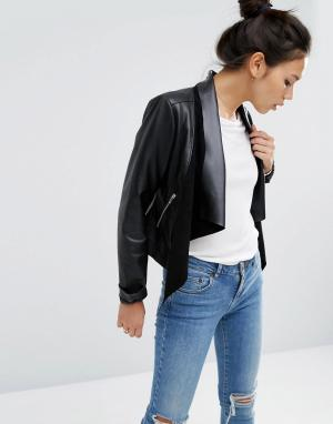Кожаная куртка с каскадной драпировкой ASOS-Черный ASOS DESIGN