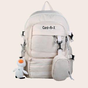 Мужской рюкзак с текстовым принтом, подвеской и кошельком SHEIN. Цвет: белый