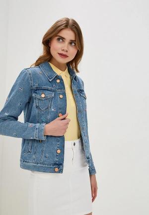 Куртка джинсовая Tommy Jeans TO052EWDQPH8. Цвет: синий