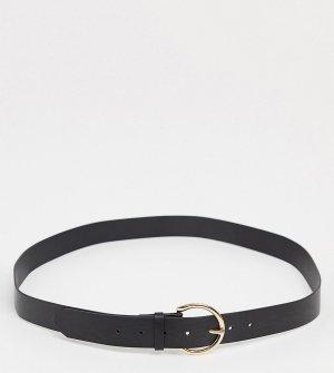 Черный ремень с круглой золотистой пряжкой в минималистичном стиле -Черный цвет Glamorous Curve