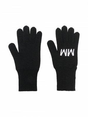 Перчатки с логотипом MM6 KIDS. Цвет: черный
