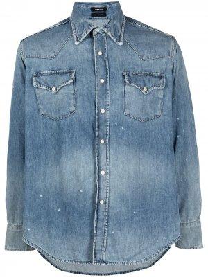 Джинсовая рубашка с эффектом потертости R13. Цвет: синий