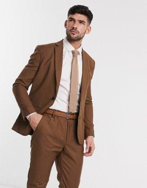 Темно-бежевый пиджак скинни -Коричневый цвет New Look