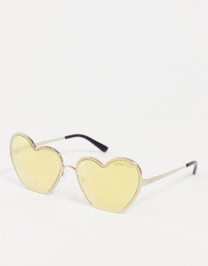 Солнцезащитные очки с линзами в форме сердечек -Золотистый Michael Kors