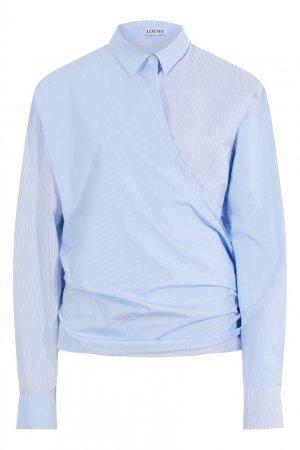 Голубая хлопковая блузка в полоску Loewe. Цвет: голубой