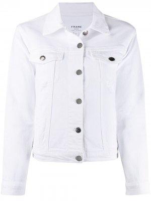 Джинсовая куртка с длинными рукавами FRAME. Цвет: белый