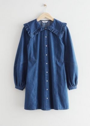 Джинсовое мини-платье с акцентным воротником &Other Stories. Цвет: синий