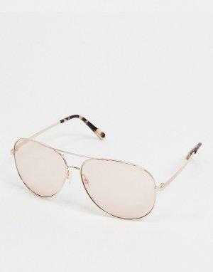 Золотистые очки-авиаторы с розовыми стеклами -Золотистый Michael Kors