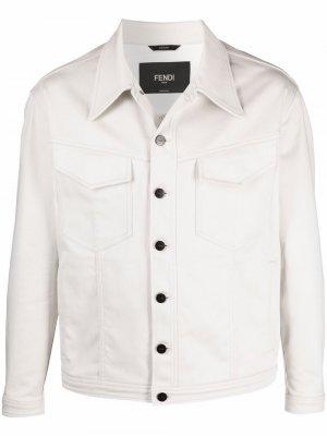 Джинсовая куртка с вышитым логотипом Fendi. Цвет: нейтральные цвета