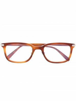 Очки в квадратной оправе черепаховой расцветки Brioni. Цвет: коричневый