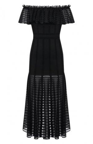 Приталенное платье-миди Alexander McQueen. Цвет: черный