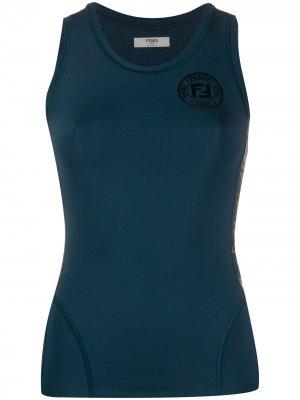 Топ без рукавов с логотипом Fendi. Цвет: синий