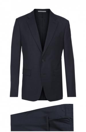 Шерстяной приталенный костюм Kenzo. Цвет: синий