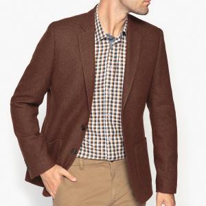 Пиджак костюмный покроя слим La Redoute Collections. Цвет: темный каштан