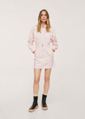 Джинсовое платье с рукавами-фонариками - Lola Mango. Цвет: пастельно-розовый