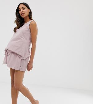 Пижамные шорты ASOS DESIGN Maternity mix & match-Розовый