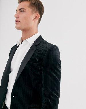 Черный супероблегающий пиджак-смокинг из плиссированного бархата -Черный цвет ASOS DESIGN