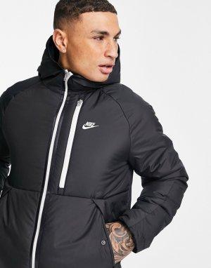 Черная утепленная куртка с капюшоном Legacy-Черный цвет Nike
