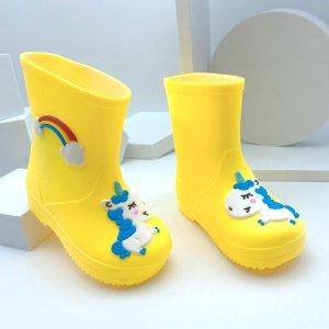 Резиновые сапоги с мультипликационным узором для мальчиков SHEIN. Цвет: жёлтые