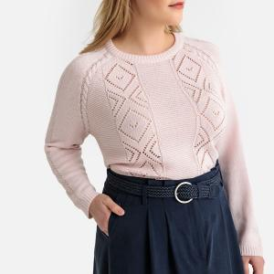 Пуловер с круглым вырезом из оригинального трикотажа CASTALUNA. Цвет: бледно-розовый