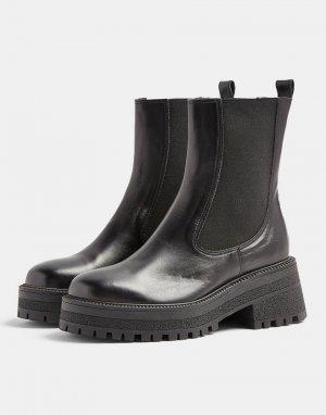 Черные кожаные полусапожки челси на массивной подошве -Черный цвет Topshop