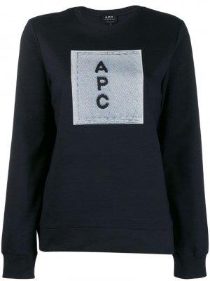 Толстовка с контрастным логотипом A.P.C.. Цвет: синий