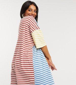 Свободное платье-футболка в полоску ASOS DESIGN Curve-Белый Curve