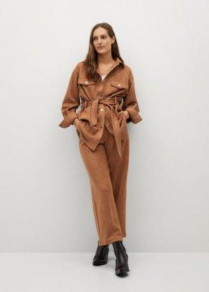 Прямые брюки из искусственной кожи - Malmo-a Mango. Цвет: коричневый