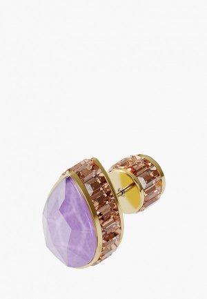 Серьга Swarovski® Orbita, покрытие золото. Цвет: разноцветный