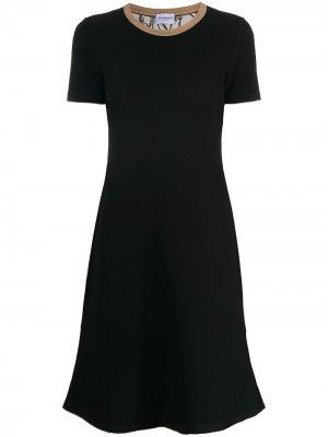 Трикотажное платье с короткими рукавами Salvatore Ferragamo. Цвет: черный