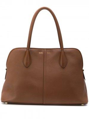 Большая сумка-тоут с логотипом Max Mara. Цвет: коричневый