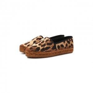 Текстильные эспадрильи Dolce & Gabbana. Цвет: леопардовый