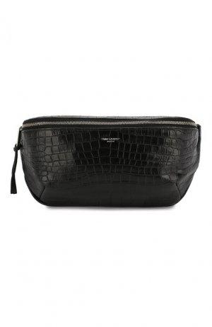 Кожаная поясная сумка Saint Laurent. Цвет: черный