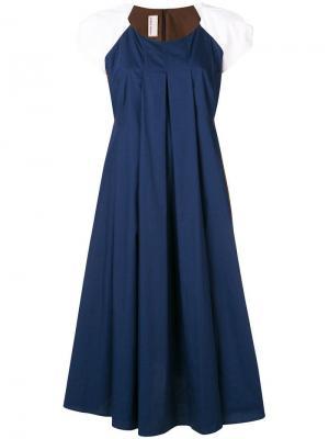 Расклешенное платье дизайна колор-блок Antonio Marras. Цвет: синий