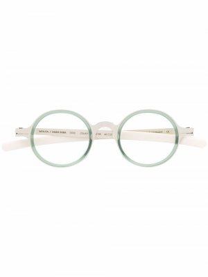 Двухцветные очки в круглой оправе Mykita. Цвет: зеленый