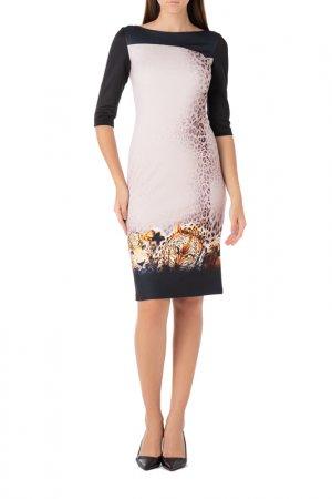 Платье Adzhedo. Цвет: коричневый, черный, леопард