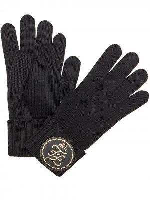 Перчатки с нашивкой-логотипом Karligraphy Fendi. Цвет: черный