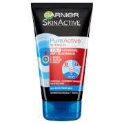 Очищающий гель для лица 3-в-1 Pure Active Intensive 3 in 1 Anti-Blackhead Charcoal Wash, Scrub and Mask 150 мл Garnier