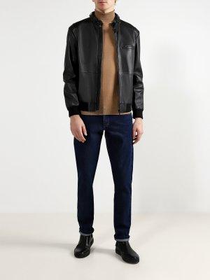 Кожаная куртка Lutwin HUGO. Цвет: chernyy