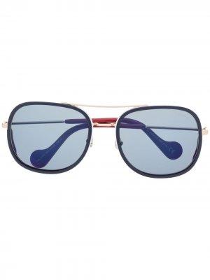 Солнцезащитные очки в круглой оправе Moncler Eyewear. Цвет: золотистый