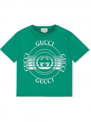 Футболка с принтом Gucci Kids. Цвет: зеленый
